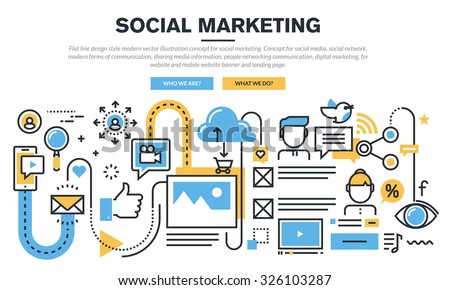 Flat line design concept for social marketing, social media and network, sharing media informations, people networking communication, digital marketing, for website banner and landing page. - stock vector