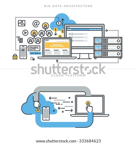 Flat line design concepts for big data architecture, big data technology, database analytics, mobile cloud computing, cloud platform and solutions, for website banner and landing page. - stock vector