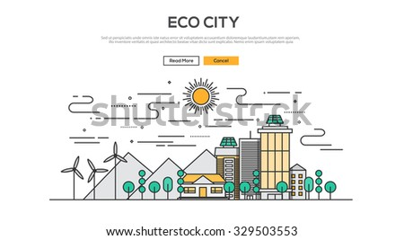 Flat Line design graphic image concept, website elements layout of  Eco City. Icons Collection of Creative Work Flow Items. Vector Illustration - stock vector