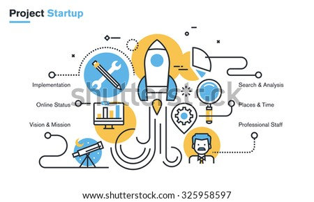 Flat line design illustration of project startup process, new products and services development from idea to implementation. Concept for web banners and printed materials, isolated on white background - stock vector