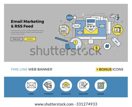 Flat line design of web banner template with outline icons of e-mail marketing service system, subscribe mail list for everyday updates. Modern vector illustration concept for website or infographics. - stock vector
