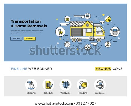 Flat line design of web banner template with outline icons of home relocation service, worldwide transportation assistance, moving house. Modern vector illustration concept for website or infographics - stock vector