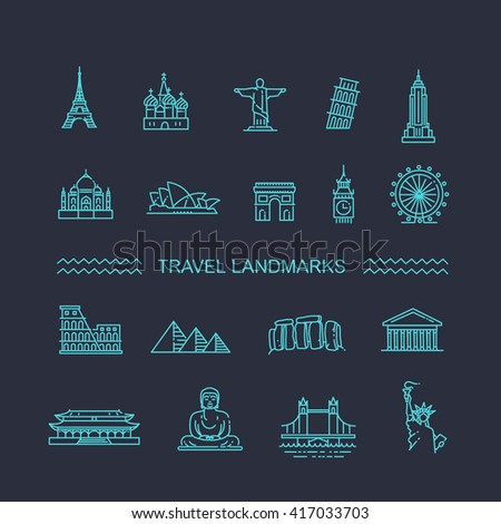 Flat line design style vector illustration icons set and logos of top tourist attractions, historical buildings, towers - stock vector
