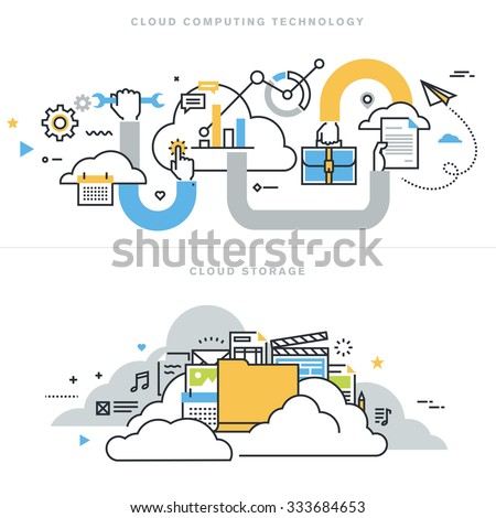 Flat line design vector illustration concepts for cloud computing technology, cloud storage, cloud solutions, security and availability, for website banner and landing page. - stock vector