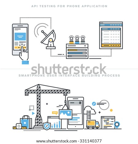 Flat line design vector illustration concepts for software API prototyping and testing for smartphone, app develop with API interface, smartphone interface building process, for website banner. - stock vector