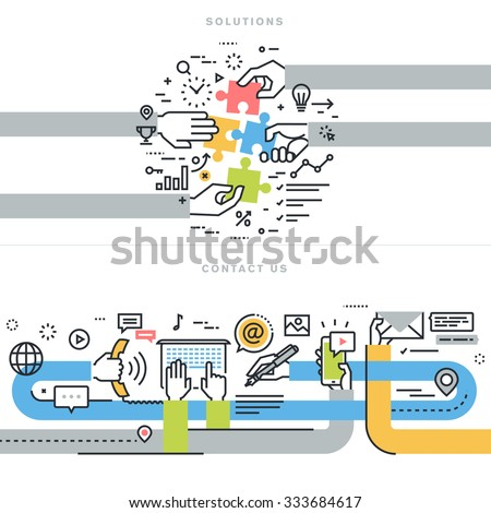 Flat line design vector illustration concepts for website banners for contact us and solutions web page, company contact information, business solutions and services, consulting, strategy and planning - stock vector
