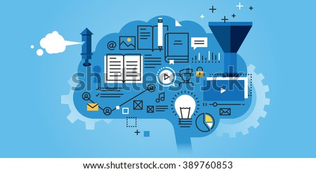 Flat line design website banner of education, learning process, brainstorming, generation of knowledge. Modern vector illustration for web design, marketing and print material. - stock vector