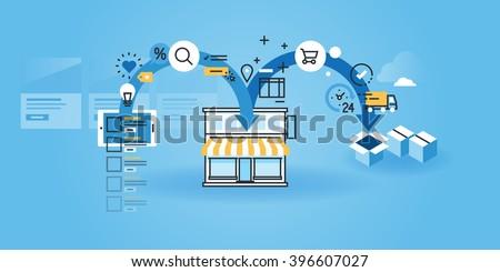 Flat line design website banner of online shopping. Modern vector illustration for web design, marketing and print material.  - stock vector