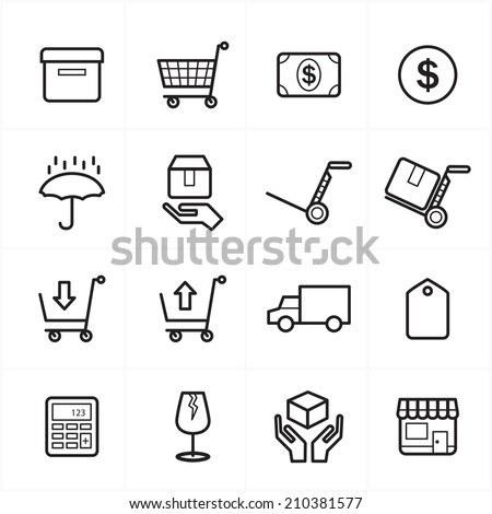 Flat Line Icons For Business Icons and Ecommerce Icons Vector Illustration - stock vector