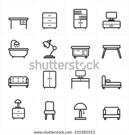 Flat Line Icons For Furniture Icons Vector Illustration - stock vector