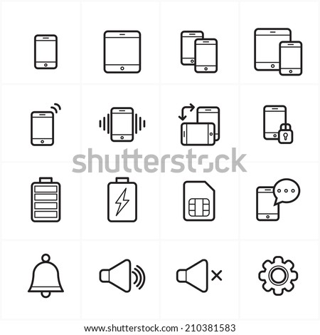 Flat Line Icons For Mobile Icons and Notification Icons Vector Illustration - stock vector