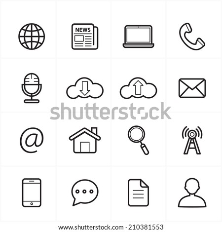 Flat Line Icons For Web Icons and Internet Icons Vector Illustration - stock vector