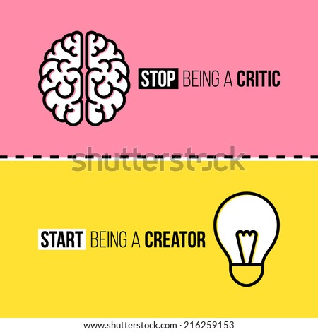 Flat line icons of brain and light bulb. Critic vs. creator concept - stock vector