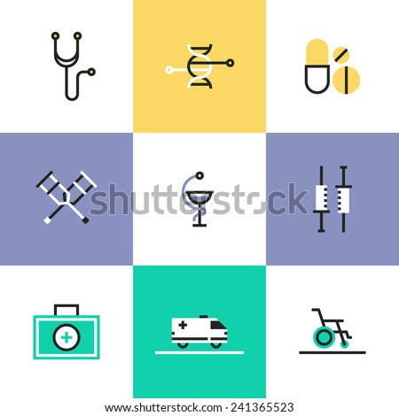 Flat line icons of first aid kit and medical equipment, DNA genome structure, biotechnology research, rehabilitation support. Infographic icons set, logo abstract design pictogram vector concept. - stock vector
