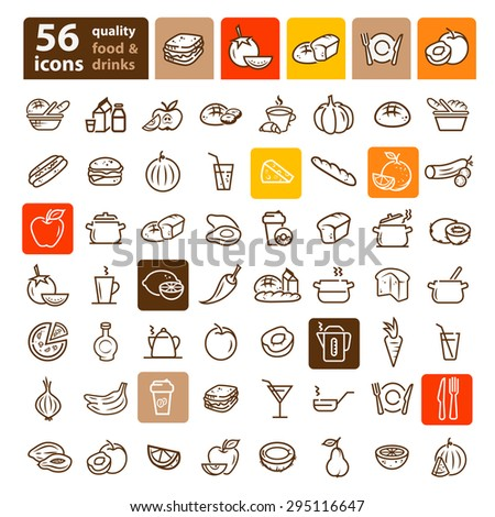 Flat line icons of food and kitchen items - stock vector