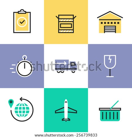 Flat line icons of global delivery service, import goods in time, packaging fragility items, air plane and truck transportation. Infographic icons set, logo abstract design pictogram vector concept. - stock vector