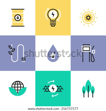 Flat line icons of green energy efficiency development, effective electricity consumption, solar and oil source production. Infographic icons set, logo abstract design pictogram vector concept. - stock vector