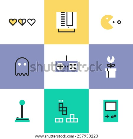 Flat line icons of popular retro gaming from 80s and 90s, classic game play elements, oldschool game controller for video console. Infographic icons set, logo abstract design pictogram vector concept. - stock vector