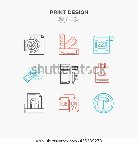 Flat line icons of Print design process, from color selection and coloring test to color printing, printing on t-shirts and print corporate identity. - stock vector