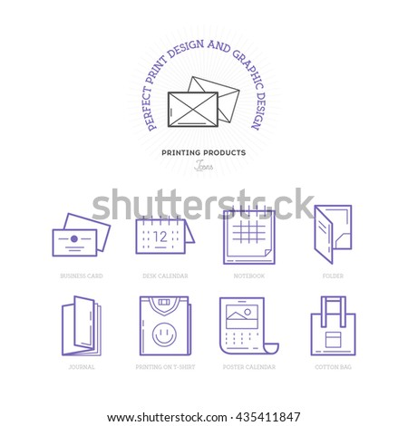 Flat line icons of Print design products, from pamphlet and booklet to business card, calendar, folder, note, t-shirt, bags and package. Printing industry icons set. - stock vector
