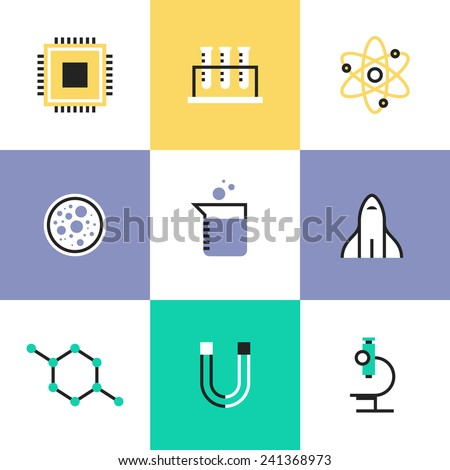 Flat line icons of science experiment, research analysis, chemistry tools, biology  equipment, atom physics and molecule symbol. Infographic icons set, logo abstract design pictogram vector concept. - stock vector