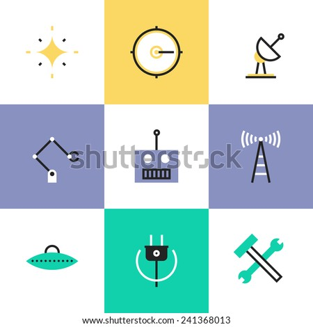 Flat line icons of science innovative engineering, robotics construction industry, broadcasting radio signal, green power energy. Infographic icons set, logo abstract design pictogram vector concept. - stock vector