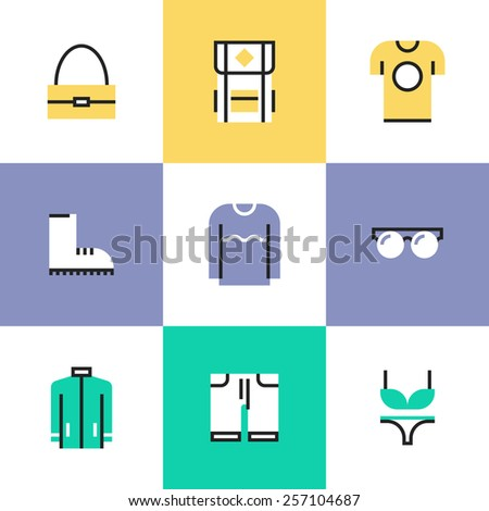 Flat line icons of stylish everyday clothing and accessories like t-shirt, boots, sweater, hoodie, bag and backpack. Infographic icons set, logo abstract design pictogram vector concept. - stock vector