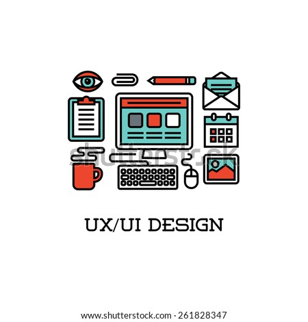 Flat line icons of UI and UX design. Creative design elements - stock vector