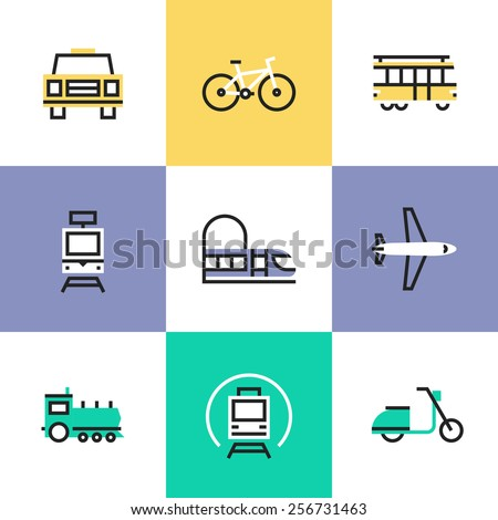 Flat line icons of various city transport, public transportation movement, carriage passenger by rail and air travel. Infographic icons set, logo abstract design pictogram vector concept. - stock vector
