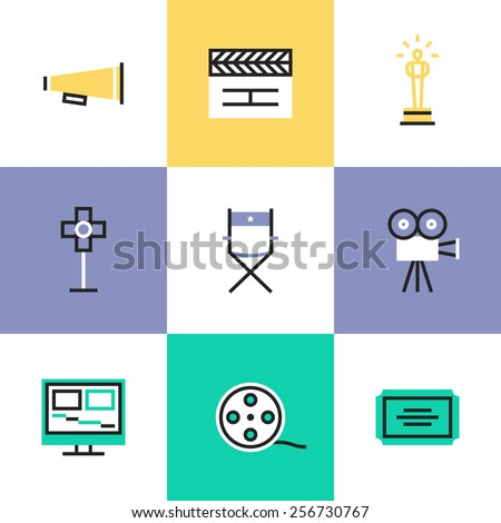 Flat line icons of video production and media post-production, award winning film making, movie director tools and objects. Infographic icons set, logo abstract design pictogram vector concept. - stock vector