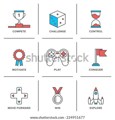 Flat line icons set of competitive advantage solution, business gamification elements, winning strategy ideas, motivation, achievement. Modern trend design vector concept. Isolated on white background - stock vector