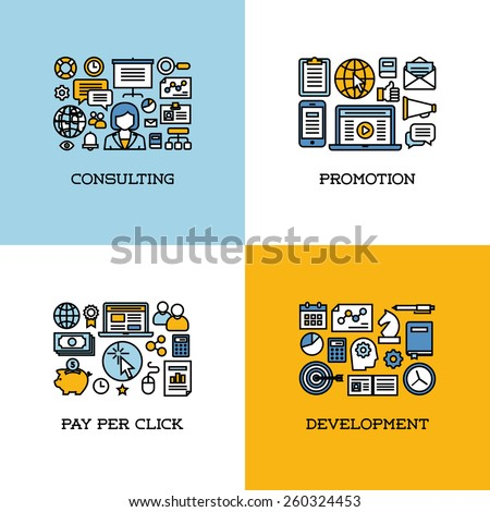 Flat line icons set of consulting, promotion, pay per click, development. Creative design elements for websites, mobile apps and printed materials - stock vector
