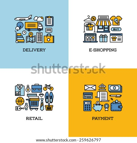 Flat line icons set of delivery, e-shopping, retail, payment - stock vector