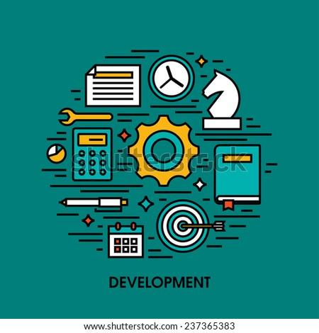 Flat line icons set of development. Creative design elements - stock vector