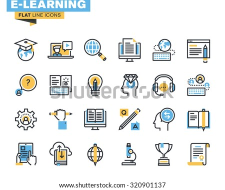 Flat line icons set of e-learning, distance education, online training and courses, cloud solutions for education, video tutorials, staff training, digital library, knowledge for all. - stock vector