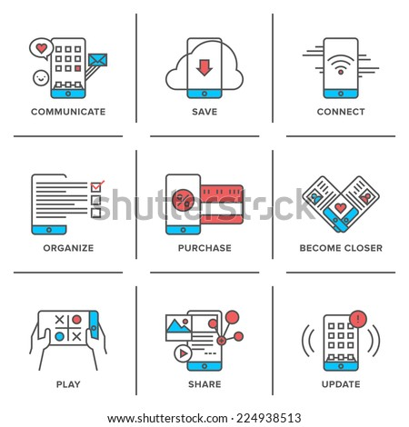 Flat line icons set of everyday smartphone apps using, lifestyle mobile communication, online store shopping, software update. Modern trend design style vector concept. Isolated on white background. - stock vector