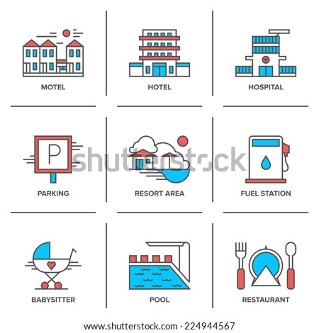 Flat line icons set of hotel resort area, motel building, parking sign, swimming pool, fuel station, restaurant food serving. Modern trend design style vector concept. Isolated on white background. - stock vector