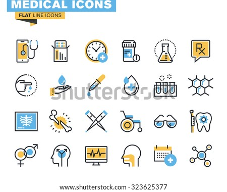 Flat line icons set of medical supplies, healthcare diagnosis and treatment, laboratory tests, medicines and equipment. Vector concept for graphic and web design. - stock vector