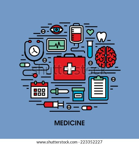 Flat line icons set of medicine - stock vector