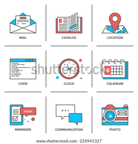 Flat line icons set of office objects, business items, working elements, desk supplies, everyday equipment. Modern trend design style vector concept. Isolated on white background. - stock vector