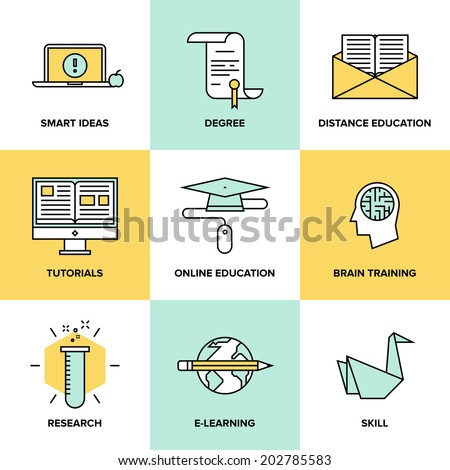 Flat line icons set of online education, brain training games, internet tutorials, smart ideas and thinking, electronic learn process, studying skills. Modern design style vector symbol collection. - stock vector