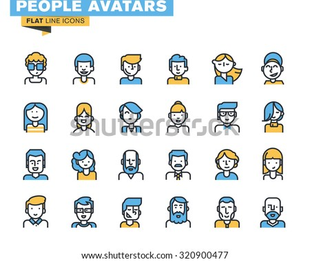 Flat line icons set of people stylish avatars for profile page, social network, social media, different age man and woman characters, professional human occupation. - stock vector