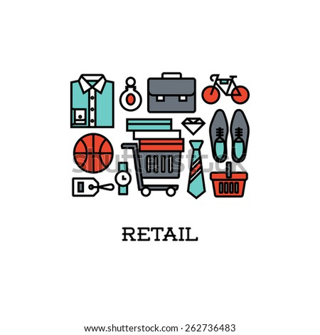 Flat line icons set of retail. Creative design elements for websites, mobile apps and printed materials - stock vector