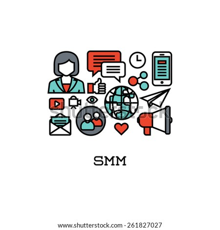 Flat line icons set of SMM. Creative design elements for websites - stock vector
