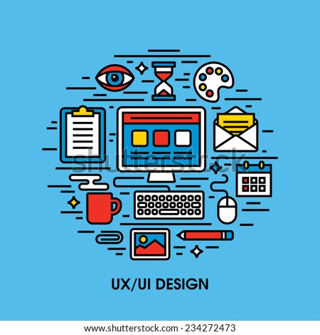 Flat line icons set of  UI and UX design - stock vector