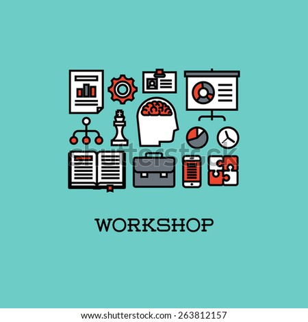 Flat line icons set of workshop. Creative design elements for websites, mobile apps and printed materials - stock vector