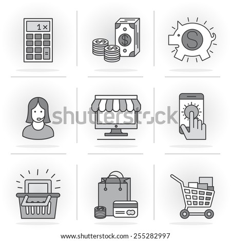 Flat Line Icons Set. Purchase and sale, online shopping, cash investments and deposits. Online payments and money transfers.Isolated Objects in a Modern Style for Your Design. - stock vector