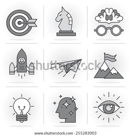 Flat Line Icons Set. Tactics and strategy, achievement and upgrading of skills. Isolated Objects in a Modern Style for Your Design - stock vector