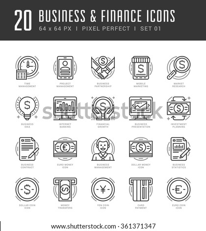 Flat line icons set. Trendy Modern thin linear stroke vector icons Business and Finance concept. For website graphics, Mobile Apps, Infographics design, Brochures. Outline pictogram pack. - stock vector