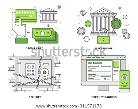 Flat line illustration set of internet banking security, safe deposit box, bank building with vault protection, online finance accounting. Modern design vector concept, isolated on white background. - stock vector